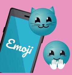 Cute emojis with smartphone cartoons vector