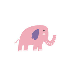 Cute pink elephant in cartoon style perfect vector