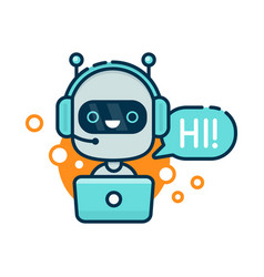 Cute smiling robot chat bot say hi vector