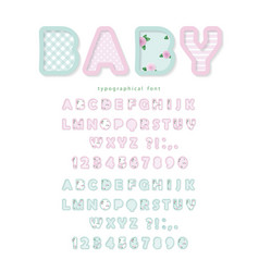 cute textile font in pastel pink and blue vector image