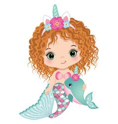 Cute unicorn baby mermaid holding whale vector