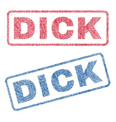 Dick textile stamps vector