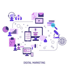 digital marketing and digital technologies vector image