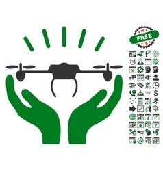 Drone Launch Hands Icon With Bonus vector image
