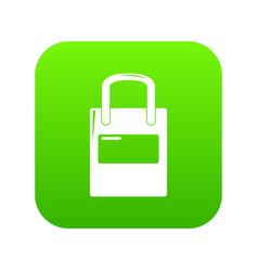 Eco bag icon green vector