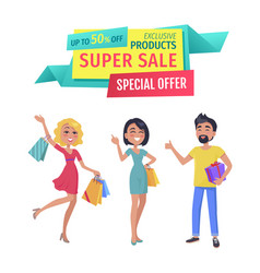 Exclusive products with super sale special offer vector