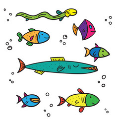 exotic sea and river multi colored fish different vector image