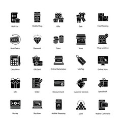 Eye-catching shopping and commerce icons vector