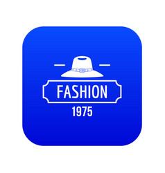 Fashion hat icon blue vector