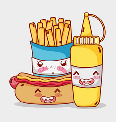 fast food cute french fries hot dog and mustard vector image