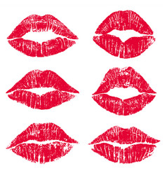 Female lips kiss print set vector
