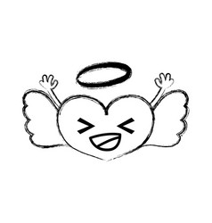 Figure happy heart angel kawaii with arms vector