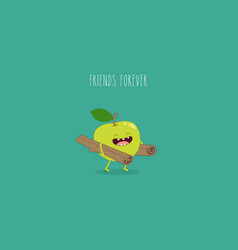 Flat cute and funny green apple fruit set vector