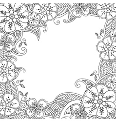 Floral hand drawn square frame in entangle vector