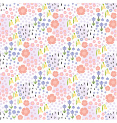 Floral seamless hand drawn pattern with small vector