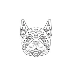 French bulldog head mandala vector