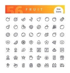 Fruit Line Icons Set vector image