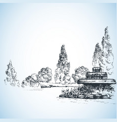 garden artistic drawing water fountain and poplars vector image vector image
