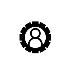 gear or cog logo template with human user icon vector image
