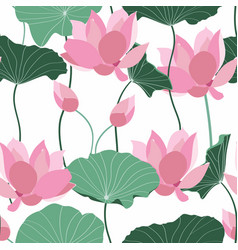 Green abstract lotus flowers and leaves pattern vector