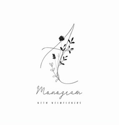 Hand drawn rustic floral logo monogram vector