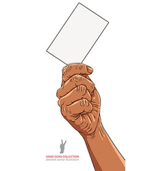 Hand with business card african ethnicity detailed vector