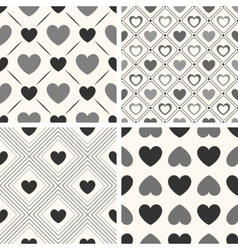 Heart shape seamless patterns Black and vector