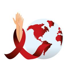 Hiv ribbon and hand design vector