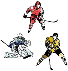 hockey trio vector image