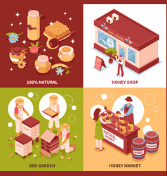Honey production 4 isometric icons vector