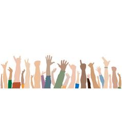 Human hands up crowd vector