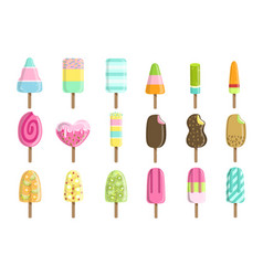 Ice creams on stick set vector
