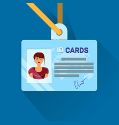 id card user or worker identification badge vector image