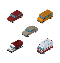 isometric car set of freight first-aid auto and vector image