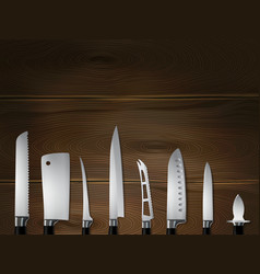 knives wooden realistic background vector image