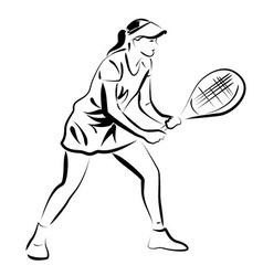 Line sketch of tennis player vector