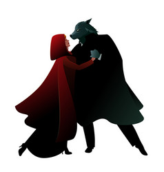 little red riding hood and the wolf dancing vector image