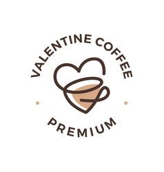 love coffee tea cup valentine heart logo icon vector image