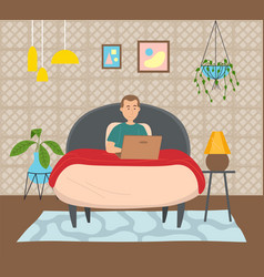 Man lying on bed holding a laptop surfing vector