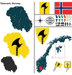 Map of Telemark vector image vector image