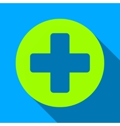 Medical Rounded Cross Flat Long Shadow Square Icon vector