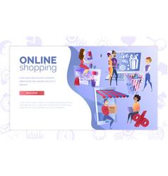 online shopping web banner cartoon template vector image