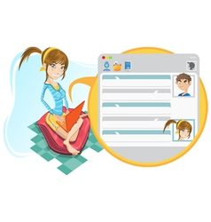 online social media girl chatting vector image