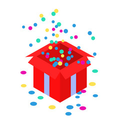 open confetti red gift box icon isometric style vector image