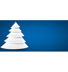 Paper christmas tree over blue vector image