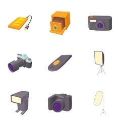 Photo icons set cartoon style vector