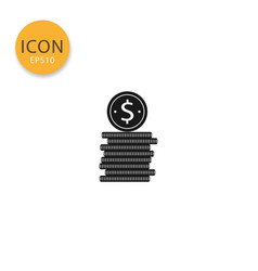 pile of coins icon isolated flat style vector image