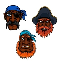 Sailor and captain pirates heads vector
