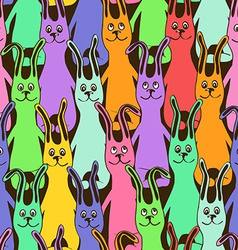 seamless pattern funny bunnies vector image