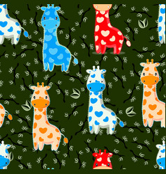Seamless pattern with baby giraffes characters vector